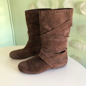 Aldo Suede Ankle Studded Strappy Boots